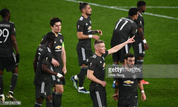 Scott McTominay of Manchester United issues instructions during a corner during the UEFA Europa League Round of 32 match between Real Sociedad and...