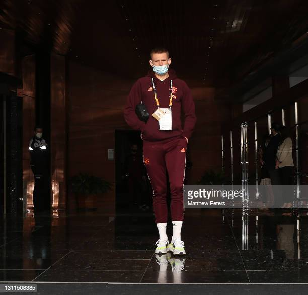 Scott McTominay of Manchester United leaves the team hotel ahead of the UEFA Europa League Quarter Final First Leg match between Granada CF and...