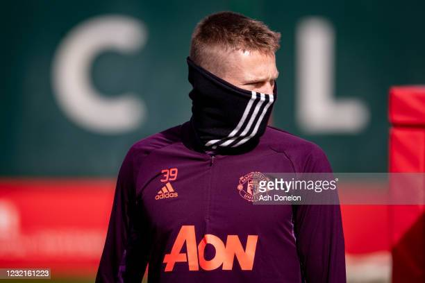 Scott McTominay of Manchester United looks on during a first team training session at Aon Training Complex on April 7, 2021 in Manchester, England.