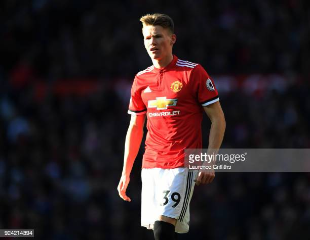 Scott McTominay of Manchester United looks on during the Premier League match between Manchester United and Chelsea at Old Trafford on February 25...