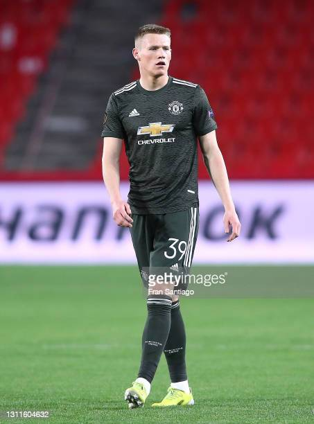Scott McTominay of Manchester United looks on during the UEFA Europa League Quarter Final First Leg match between Granada CF and Manchester United at...