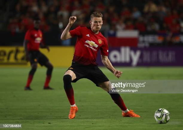 Scott McTominay of Manchester United looks to intercept a pass in the second half of their International Champions Cup 2018 match against AC Milan at...