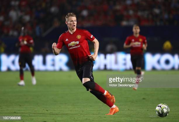 Scott McTominay of Manchester United passes the ball to the wing during the second half of the International Champions Cup 2018 match against AC...