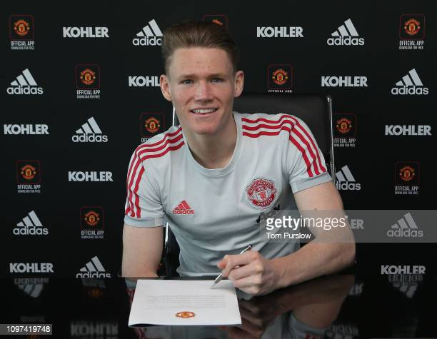 Scott McTominay of Manchester United poses after signing a contract extension with the club at Aon Training Complex on January 21, 2019 in...