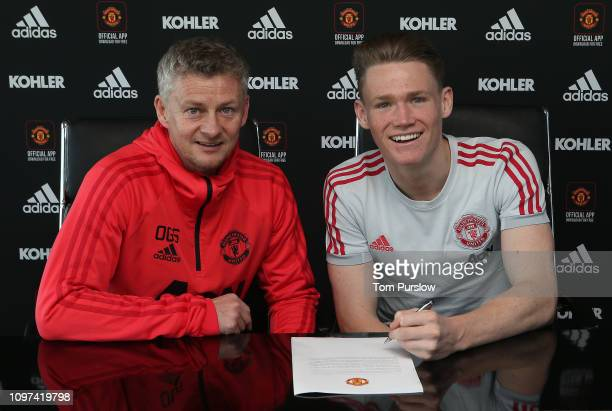 Scott McTominay of Manchester United poses after signing a contract extension with the club at Aon Training Complex on January 21 2019 in Manchester...