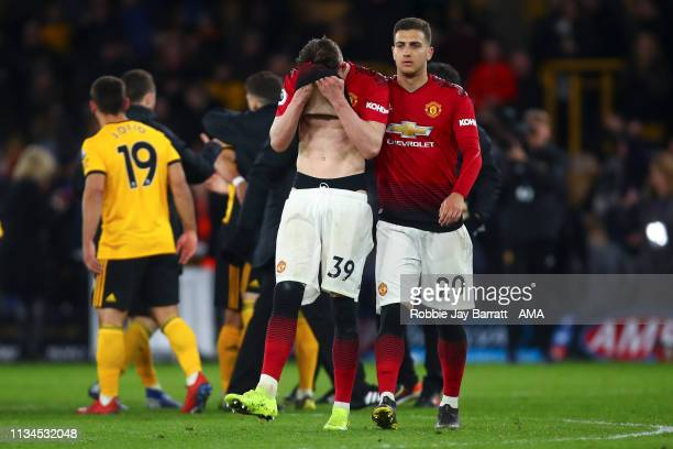 Scott McTominay of Manchester United reacts at full time during the Premier League match between Wolverhampton Wanderers and Manchester United at...