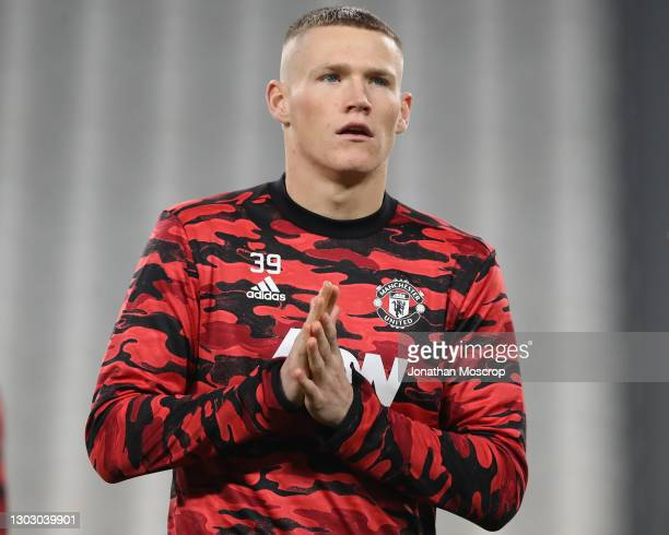 Scott McTominay of Manchester United reacts during the warm up prior to the UEFA Europa League Round of 32 match between Real Sociedad and Manchester...