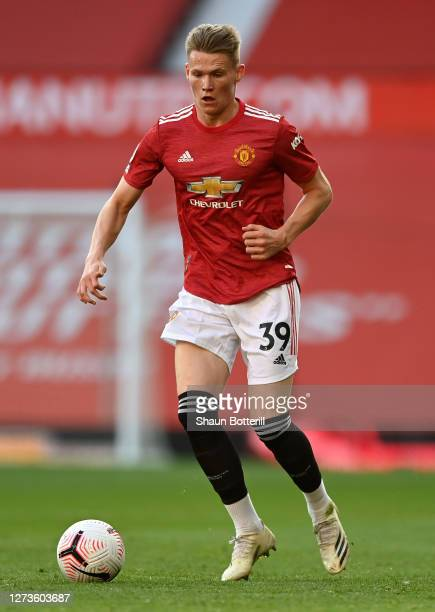 Scott McTominay of Manchester United runs with the ball during the Premier League match between Manchester United and Crystal Palace at Old Trafford...