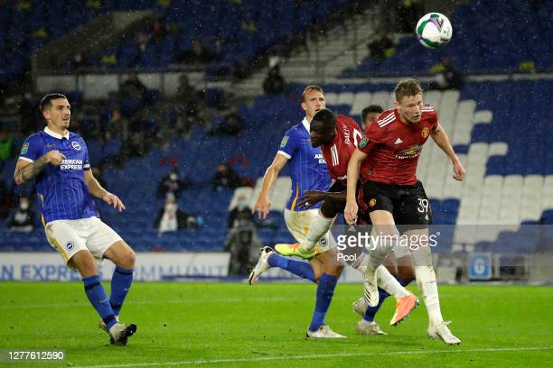 Scott McTominay of Manchester United scores his sides first goal during the Carabao Cup fourth round match between Brighton and Hove Albion and...