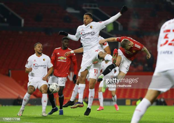 Scott McTominay of Manchester United scores his sides first goal during the FA Cup Third Round match between Manchester United and Watford at Old...