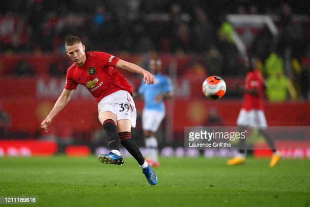 Scott McTominay of Manchester United scores his sides second goal during the Premier League match between Manchester United and Manchester City at...