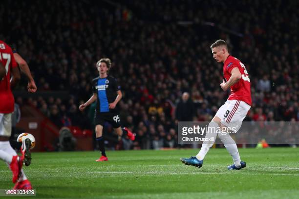 Scott McTominay of Manchester United scores his team's third goal during the UEFA Europa League round of 32 second leg match between Manchester...
