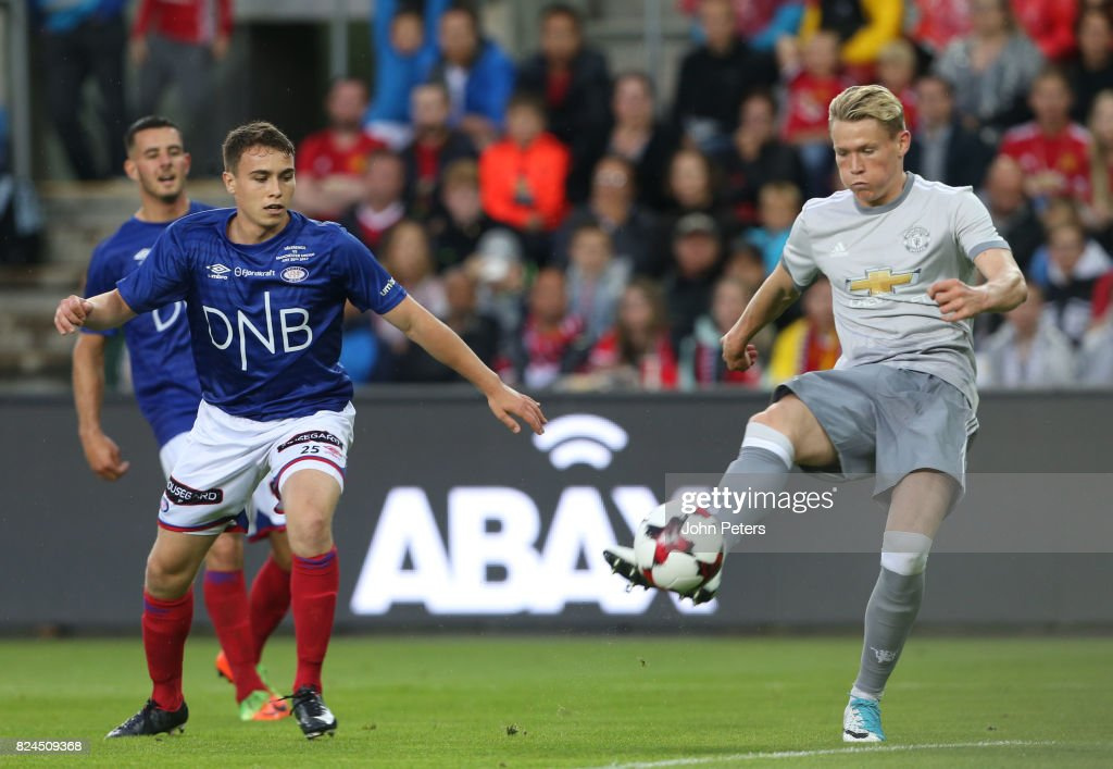 Scott McTominay of Manchester United scores the third goal during the pre-season friendly match between Valerenga and Manchester United at Ullevaal Stadion on July 30, 2017 in Oslo, Norway.