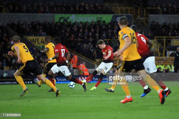 Scott McTominay of Manchester United scores their 1stgoal during the Premier League match between Wolverhampton Wanderers and Manchester United at...