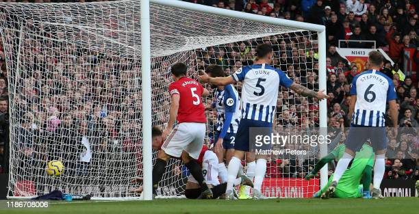 Scott McTominay of Manchester United scores their second goal during the Premier League match between Manchester United and Brighton Hove Albion at...