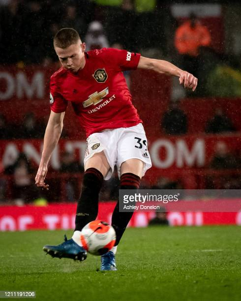 Scott McTominay of Manchester United scores their second goal during the Premier League match between Manchester United and Manchester City at Old...