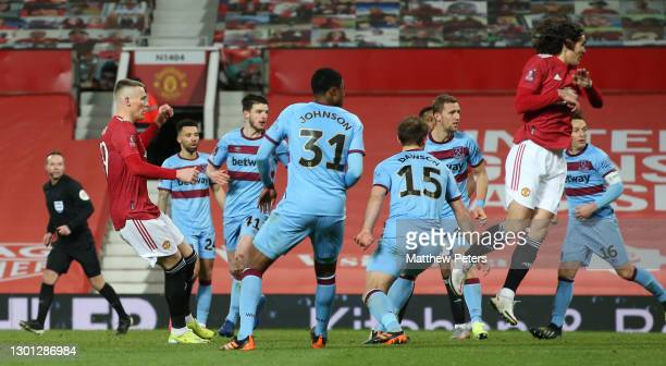 Scott McTominay of Manchester United scores their second goal during The Emirates FA Cup Fifth Round match between Manchester United and West Ham...