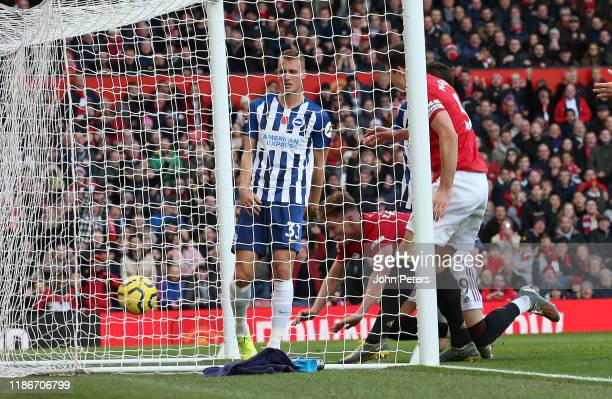 Scott McTominay of Manchester United scores their second goal the Premier League match between Manchester United and Brighton Hove Albion at Old...