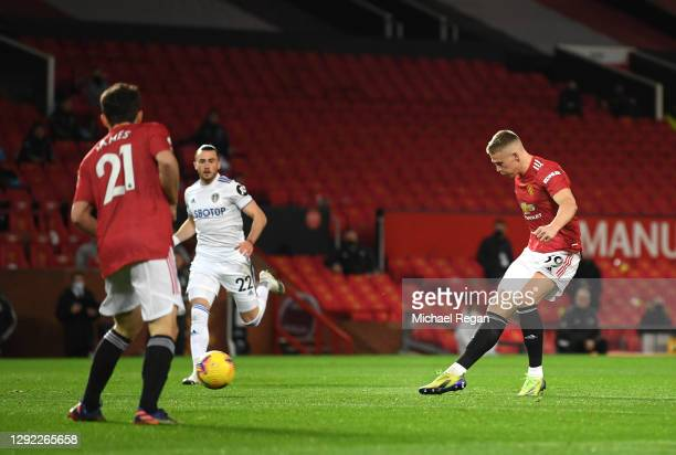 Scott McTominay of Manchester United scores their team's first goal during the Premier League match between Manchester United and Leeds United at Old...