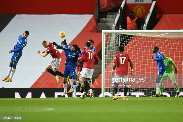 Scott McTominay of Manchester United scores their team's third goal during the Premier League match between Manchester United and Everton at Old...