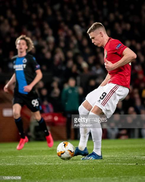 Scott McTominay of Manchester United scores their third goal during the UEFA Europa League round of 32 second leg match between Manchester United and...