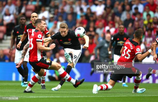 Scott McTominay of Manchester United shoots during the Premier League match between Southampton FC and Manchester United at St Mary's Stadium on...