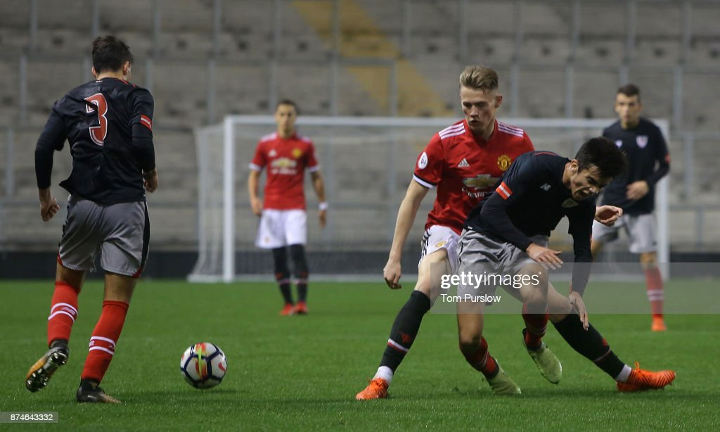 Scott McTominay of Manchester United U23s in action during the Premier League International Cup match between Manchester United U23s and Athletic Bilbao U23s at Leigh Sports Village on November 15, 2017 in Leigh, Greater Manchester.