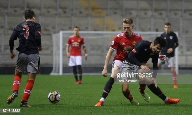 Scott McTominay of Manchester United U23s in action during the Premier League International Cup match between Manchester United U23s and Athletic...