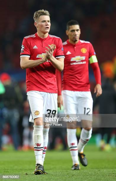 Scott McTominay of Manchester United walks off after the UEFA Champions League group A match between Manchester United and SL Benfica at Old Trafford...