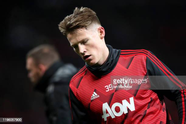 Scott McTominay of Manchester United warms up prior to the Premier League match between Manchester United and Newcastle United at Old Trafford on...