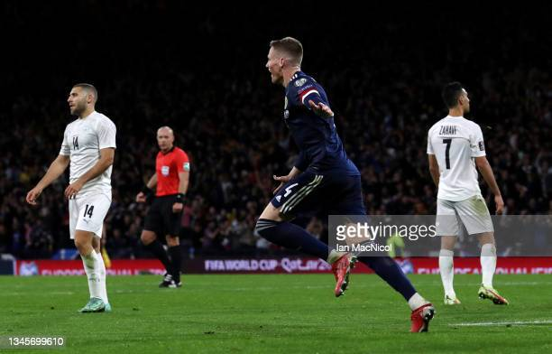 Scott McTominay of Scotland celebrates after scoring their team's third goal during the 2022 FIFA World Cup Qualifier match between Scotland and...