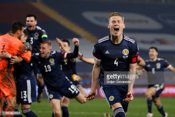 Scott McTominay of Scotland celebrates during the UEFA EURO 2020 Play-Off Final between Serbia and Scotland at Rajko Mitic Stadium on November 12,...