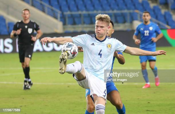 Scott McTominay of Scotland controls the ball during the UEFA Nations League group stage match between Israel and Scotland at Netanya Stadium on...