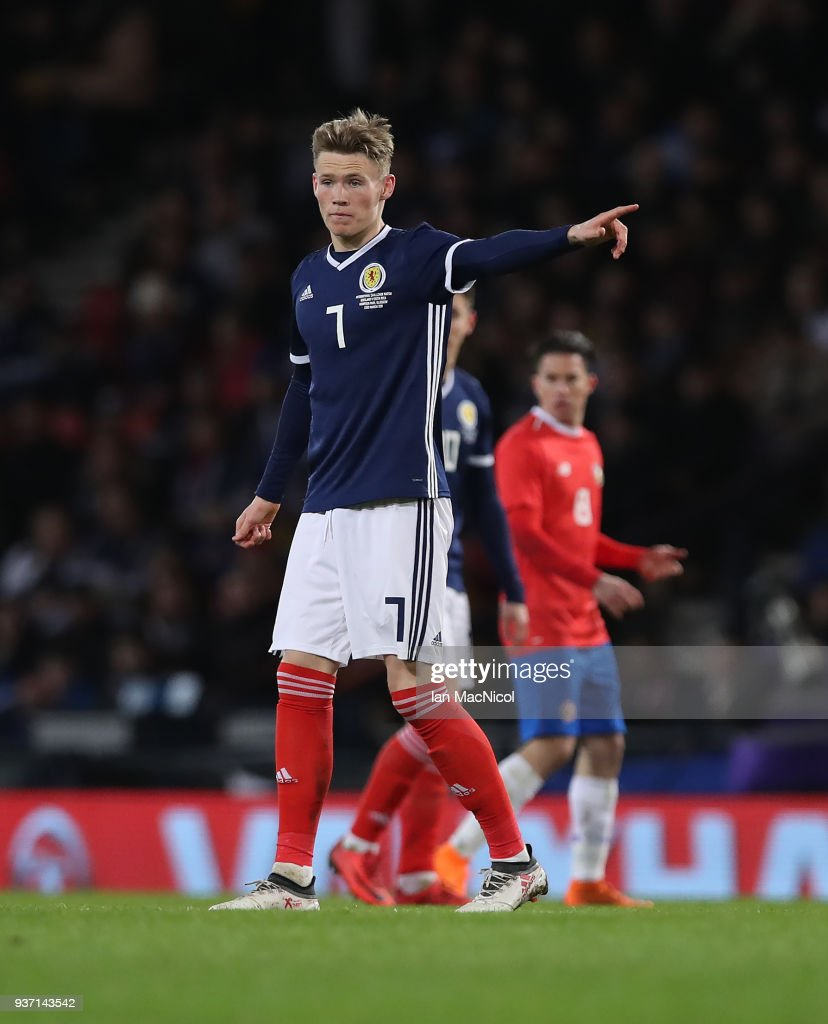 Scott McTominay of Scotland is seen during the Vauxhall International Challenge match between Scotland and Costa Rica at Hampden Park on March 23, 2018 in Glasgow, Scotland.
