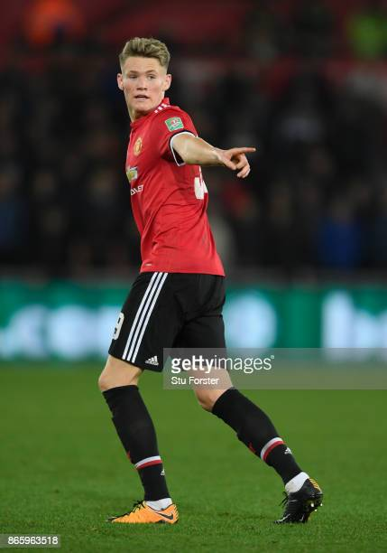 Scott McTominay of United in action during the Carabao Cup Fourth Round match between Swansea City and Manchester United at Liberty Stadium on...