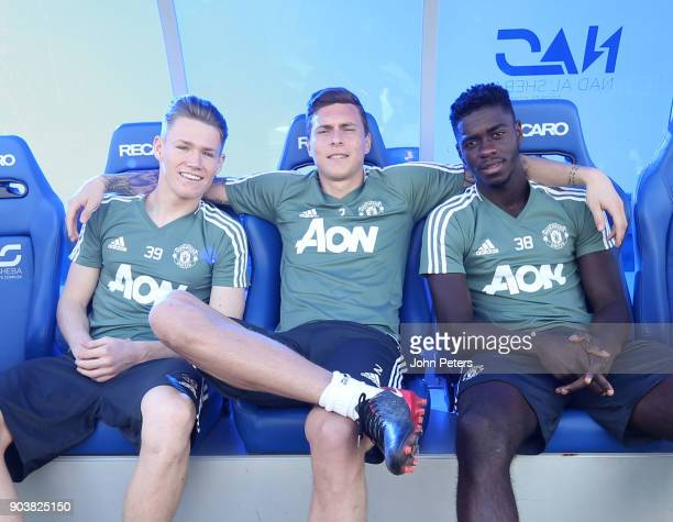 Scott McTominay Victor Lindelof and Axel Tuanzebe of Manchester United in action during a first team training session at Nad Al Sheba Sports Complex...