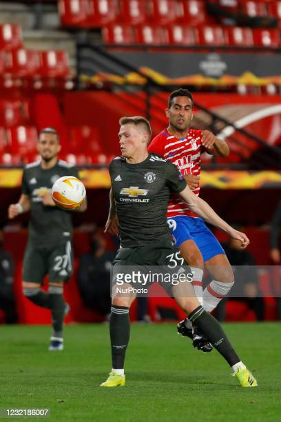 Scott Mctominay,of Manchester United and Angel Montoro, of Granada CF during the UEFA Europa League Quarter Final leg one match between Granada CF...