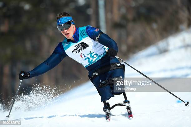Scott Menage of Great Britain competes in the Men's 75 KM Sitting Biathlon event at Alpensia Biathlon Centre during day one of the PyeongChang 2018...