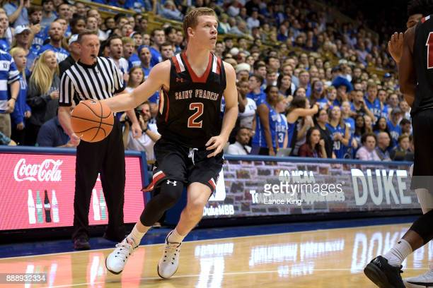 Scott Meredith of the St Francis Red Flash moves the ball against the Duke Blue Devils at Cameron Indoor Stadium on December 5 2017 in Durham North...