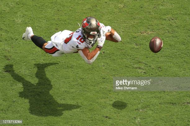 Scott Miller of the Tampa Bay Buccaneers is unable to catch a pass in the end zone during the first quarter against the Carolina Panthers at Raymond...