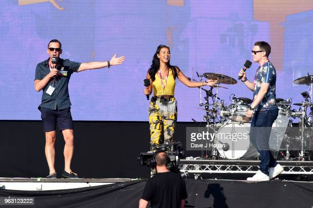 Scott Mills Maya Jama and Chris Stark speak on stage during day 2 of BBC Radio 1's Biggest Weekend 2018 held at Singleton Park on May 27 2018 in...