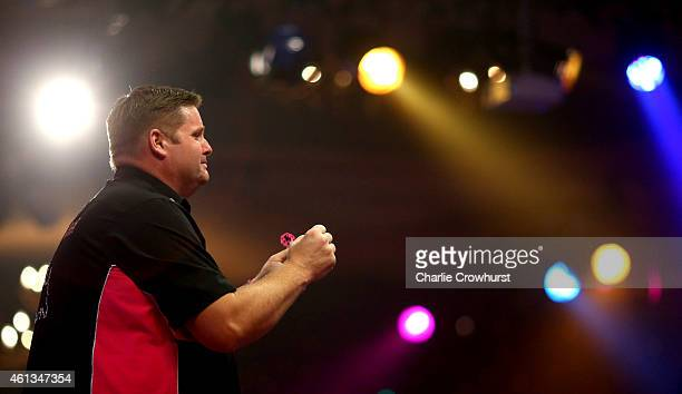 Scott Mitchell of England celebrates winning the mens final against Martin Adams of England during the BDO Lakeside World Professional Darts...