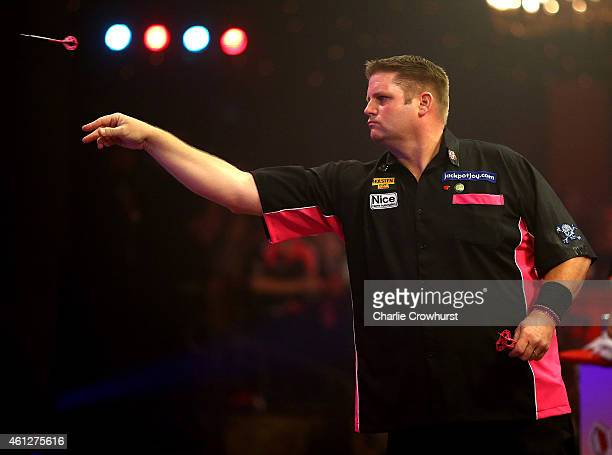 Scott Mitchell of England in action during his semi final match against Jeff Smith of Canada during the BDO Lakeside World Professional Darts...