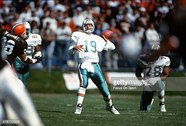 Scott Mitchell of the Miami Dolphins drops back to pass against the Cleveland Browns during an NFL football game October 10 1993 at Cleveland...