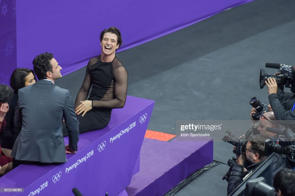 Scott Moir (CAN) reacts to the Canadian section in the crowd after he and Tessa Virtue's gold medal performance in Ice Dancing during the 2018 Winter Olympic Games at the Gangneung Ice Arena on February 20, 2018 in PyeongChang, South Korea.