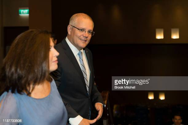 Scott Morrison and wife Jenny Morrison attend the Liberal State Election function at the Sofitel Wentworth on March 23 2019 in Sydney Australia The...