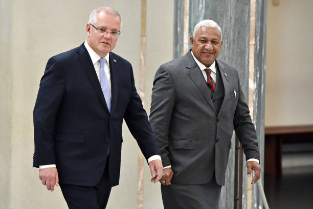 AUS: Fiji PM Frank Bainimarama Welcomed By Australian PM Morrison After Criticizing Him Over A Lack Of Action On Climate Change