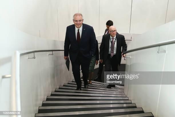 Scott Morrison Australia's prime minister left arrives at the Bloomberg Asia Society event in Sydney Australia on Thursday Nov 1 2018 Morrisonurged...