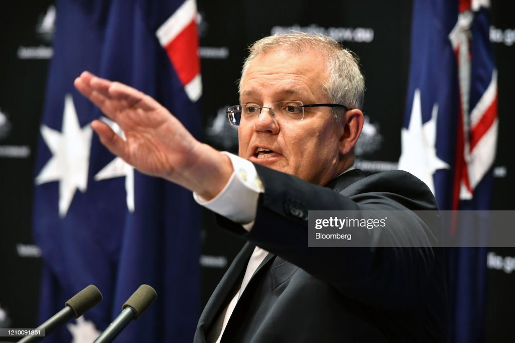 Australia PM Scott Morrison News Conference As Employment Holds Up for Now : News Photo