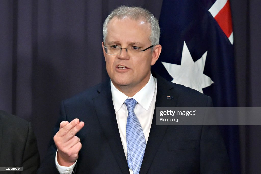 Scott Morrison, Australia's prime minister-designate and leader of the Liberal Party, speaks during a news conference in Canberra, Australia, on Friday, Aug. 24, 2018. Morrison pledged to bring stability once he becomes Australia's sixth prime minister in 11 years after Malcolm Turnbull relinquished power on Friday in a party coup. Photographer: Mark Graham/Bloomberg via Getty Images